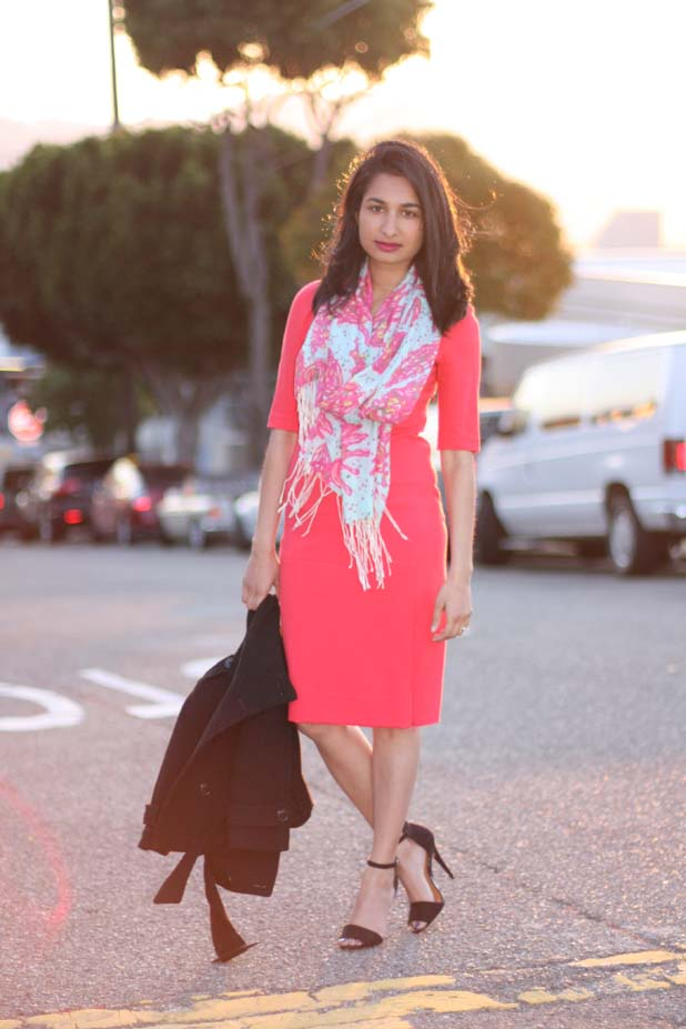 DVF-takara-dress-lilly-pulitzer scarf-zara-heels
