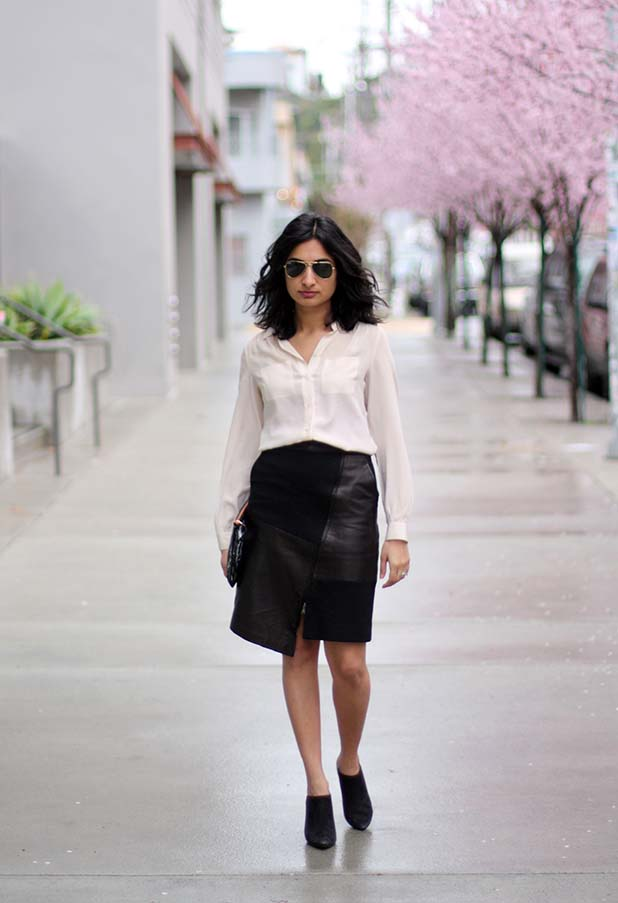Tibi patchwork leather skirt 6