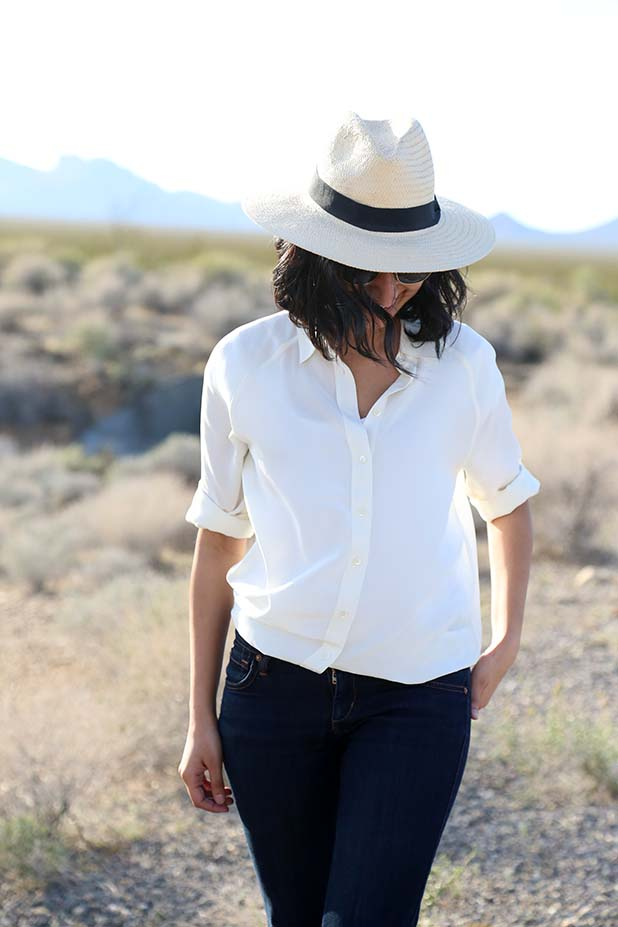 Everlane white silk shirt